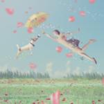 空に飛ぶ犬と女性イメージ写真AC