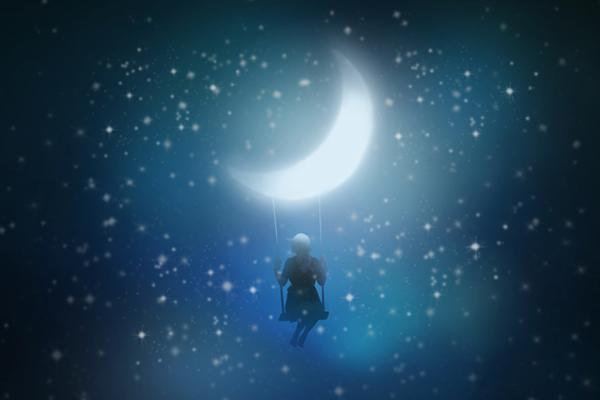 月のブランコイメージ写真AC