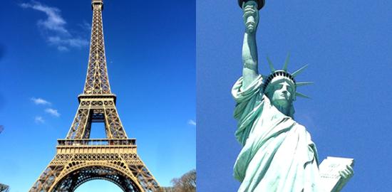 【恋のまち パリvsニューヨーク】特集イメージ:エッフェル塔&自由の女神